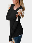 Black Lace-up Cold Shoulder Long Sleeves T-shirt