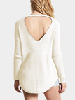 White Oversize Hollow Out Back Knit Sweater