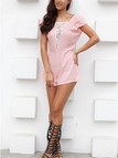 Pink Lace Insert V-shaped Cut Back Cape Sleeve Playsuit
