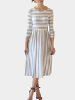 Grey Stripe Round Neck Pleated Hem Bodycon Midi Dress