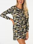 Camouflage Ripped Details Long Sleeves Mini Dresses