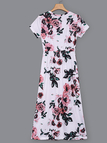 Random Floral Print Short Sleeves Stretch Waistband Dress in White