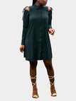 Atrovirens Casual Cold Shoulder Button-down Shirt Dress