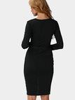 Black Single Breasted Slit Self-tie Waist Dress