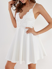 White V-neck Lace Trim Cross Back Sexy Dress
