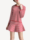 Red Stripe Knit Skater Dress Suit