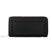 Studded Leather-look Long Purse with  Embellishment in Black
