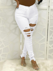 White Ripped Details Middle-waisted Skinny Jeans