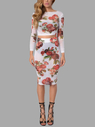 Sheer-through Sexy Floral Print Crop Top and Midi Skirt Co-ord