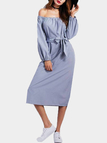 Blue Stripe Pattern Self-tie Waist Off Shoulder Long Sleeves Dress