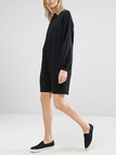 Black Chunky Lantern Sleeve Loose Casual Dress