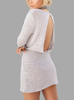 Grey Open Back Drawstring Waist Knit Mini Dress