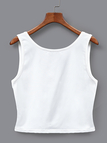 Single Breasted Crop Tank Top in White