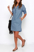 Blue Two Pockets V-neck Long Sleeves Dress