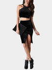Black Velvet Racer Crop Top