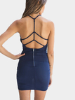 Navy Sleeveless Wrap Front Open Back Cami Mini Dress