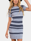 Pullover Round Neck Stripe Sweater Casual Dress