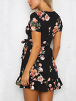 Black and Pink Random Floral Printed Ruffled Mini Dress