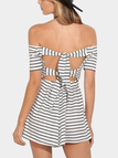 Sexy Stripe Pattern Off Shoulder Self-tie Design Dress