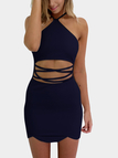 Navy Sexy Halter Neck & Cutout Waist Mini Dress