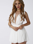 White Plunge Sleeveless Crossed Back Playsuit