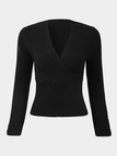 Threaded V Neck Bottoming Blouse in Black