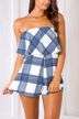 Grid Overlay Strapless Playsuit