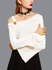 Sexy White Sloping Shoulder Long Slit Sleeves Sweater
