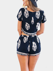 Navy Foliage Print Shorts Co-Ord Set