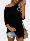 Black Round Neck Long Sleeves Curved Hem T-shirt