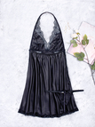 Black Halter Lace Details Sexy Pajamas Dress with T-back