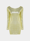 Gold Sequin 3/4 Length Sleeve Dress