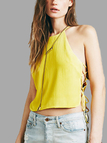 Yellow Halter Lace-up Details Crop