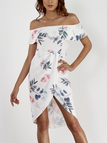 Random Floral Print Off The Shoulder Irregular Hem Tiered Dress