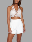 White Sexy Gold Thread Embroidery Hollow Out Lace Crop Top