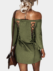 Army Green Sexy Off Shoulder Lace Up Stripe Patern Mini dress