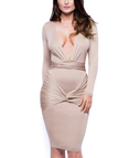 Long Sleeves V-neck Wrap Front Bodycon Midi Dress
