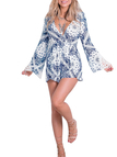 Crochet Bell Sleeves Print Playsuit