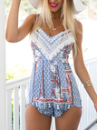 Tribe Print Sleeveless Playsuit with Curved Hem