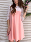 Pink Round Neck Lace Design A-line Mini Dress