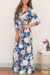 Royalblue Self-tie Design Random Floral Print V-neck Maxi Dress