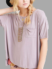 Solid Color T-shirt with High Low Hem