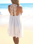 White Backless Crochet Lace Stitching Slip Chiffon Dress