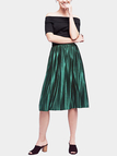 Dark Green Velvet High-waisted Pleated Design Midi Skirt