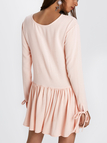 Pale Pink Oversize Long Sleeves Botton-down at Back Mini Dress