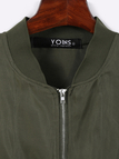 Army Green 2 in 1 Zipper Design Stitching Hem Jacket