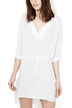 White Lapel Sleeved Dress With Drawstring