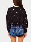 Black Sequins Round Neck Crop Sweatshirt