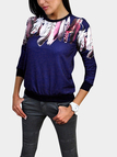 Blue Feather Random Floral Print Long Sleeves Top