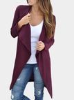 Burgundy Open Front Fold-over Collar Long Sleeves Cardigan
